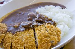 Japanese food fry pork tongkatsu curry Royalty Free Stock Images