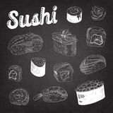 Japanese Food Hand Drawn Doodle on Blackboard. Sushi and Rolls with Rice and Fresh Fish. Vector Sketch Royalty Free Stock Photos