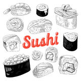 Japanese Food Hand Drawn Doodle Isolated on White Background. Sushi and Rolls with Rice and Fresh Fish Stock Photo