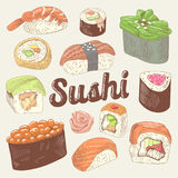 Japanese Food Hand Drawn Doodle. Sushi and Rolls with Rice and Fresh Fish. Vector Sketch Stock Image