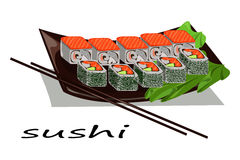 Japanese food. Hand drawn sushi and roll illustration. Vector Stock Photography