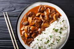 Japanese food: Hayashi beef with onion and mushrooms, as well as. Rice close-up on a plate on the table. horizontal top view from above stock photography