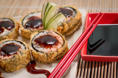 Japanese Food hot roll. Japanese food, Japanese restaurant, oriental food Royalty Free Stock Photos