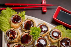 Japanese Food hot roll. Japanese food, Japanese restaurant, oriental food Royalty Free Stock Images
