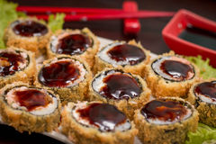 Japanese Food hot roll. Japanese food, Japanese restaurant, oriental food Royalty Free Stock Image
