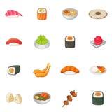 Japanese food icons set, cartoon style Royalty Free Stock Images