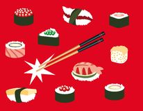 Japanese food Icons Royalty Free Stock Photo