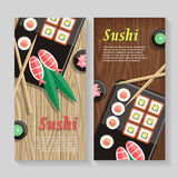 Japanese Food Illustration web Banner. Japan Sushi Stock Photos