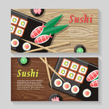 Japanese Food Illustration web Banner. Japan Sushi Stock Image