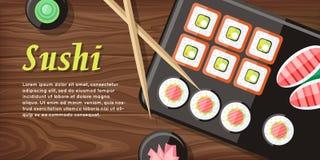 Japanese Food Illustration web Banner. Japan Sushi Royalty Free Stock Photography
