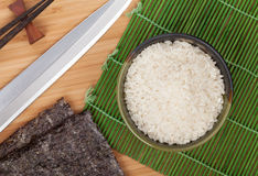 Japanese food ingredients and utensils Stock Images