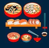 Japanese food , Japanese dishes, Sushi set. Vector food- Japanese food,  Japanese dishes , Sushi set- Illustration Royalty Free Stock Photography
