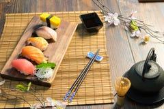 Japanese food. Sashimi Sushi set Stock Photos
