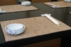 Japanese food, Kabuki. Interior and menu japanese restaurant stock photo