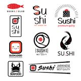Japanese food labels set with different sushi stock illustration