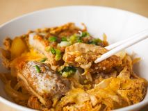 Katsudon a kind of Japanese food. Japanese food made from pork baked with eggs, topped on rice Stock Photo