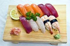 Japanese Food,  Menu of 10 Sushis-. Salmon. Tuna, Shrimp, Mackerel, on Wooden Serving Dish Royalty Free Stock Image