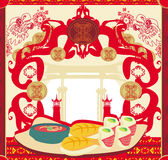 Japanese food menu - vintage card Royalty Free Stock Photos