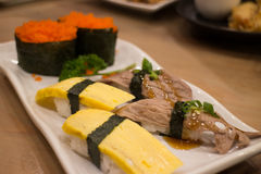 Japanese food mix sushi. Fish wheel water victuals unite turn sway shuhi spin salmon rotation roller Stock Photography
