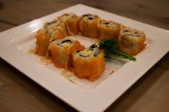 Japanese food mix sushi. Fish wheel water victuals unite turn sway shuhi spin salmon rotation roller Royalty Free Stock Photos