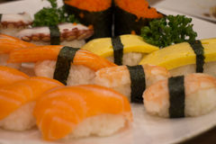 Japanese food mix sushi. Fish wheel water victuals unite turn sway shuhi spin salmon rotation roller Stock Photos