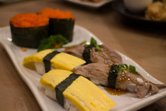 Japanese food mix sushi. Fish wheel water victuals unite turn sway shuhi spin salmon rotation roller Stock Image