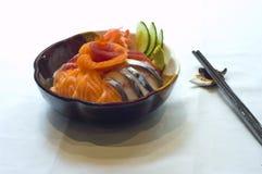 Japanese Food, Mixed Bowl Sushi Sashimi. Japanese Food Mixed Sushi, Robata, Salmon, Tuna Royalty Free Stock Photos