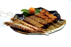 Japanese Food, Mixed Grilled Skillers. Japanese Food Mixed Grilled Skillers, 3 Different Fish Boilers, Robata, Salmon, Shrimp, Tuna Stock Images