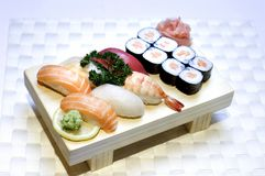 Japanese Food, Mixed Menu. Japanese Food, Mixed Menu, Plate of Maki and Sushi Sliced Raw Fish, Salmon, Tuna, PS-43025 Royalty Free Stock Image