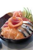 Japanese Food, Mixed Sashimi. Japanese Food,  Bowl of Salmon, Tuna. and Mackerel Sashimi PS-47846 Royalty Free Stock Image