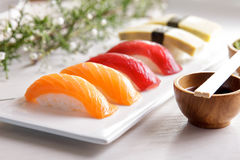 Japanese food nigiri sushi sets on white plate Royalty Free Stock Photos