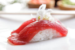 Japanese food nigiri tuna sushi on white plate Royalty Free Stock Image