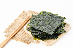 Japanese food nori dry seaweed sheets. Royalty Free Stock Photography