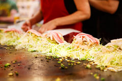 Japanese food okonomiyaki , Japanese pizza Stock Photography