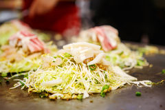 Japanese food okonomiyaki , Japanese pizza Stock Image