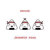 Japanese food Onigiri cartoon  with different smiles. Stock Images
