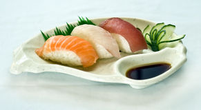 Japanese Food, Plate of Sushi, Sliced Raw Fish, Royalty Free Stock Photo
