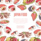 Japanese food poster with asian cuisine dishes. Japanese food poster with famous asian cuisine dishes on white background. Octopus, oysters, tuna, nigiri, sushi Royalty Free Stock Image