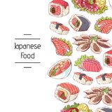 Japanese food poster with asian cuisine dishes. Octopus, oysters, tuna, nigiri, sushi roll with shrimps, sashimi with salmon, soup with seafoods vector Stock Images