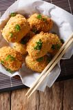 Japanese food: potato croquettes close-up. Vertical top view Stock Images