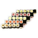 Japanese food restaurant delivery - sushi maki roll platter big set isolated at white background, above view. Royalty Free Stock Images