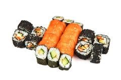 Japanese food restaurant, sushi maki gunkan roll plate or platter set. California Sushi rolls with salmon. Sushi isolated at white stock images