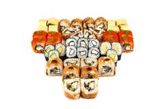 Japanese food restaurant, sushi maki gunkan roll plate or platter set. California Sushi rolls with salmon. Sushi at white stock photo
