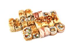 Japanese food restaurant, sushi maki gunkan roll plate or platter set. California Sushi rolls with salmon. Sushi at white royalty free stock photography
