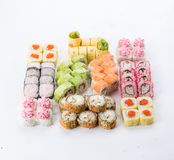 Japanese food restaurant, sushi maki gunkan roll plate or platter set. Sushi set and composition. Sushi set and composition at white background. Japanese food royalty free stock photography