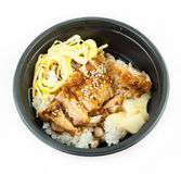 Japanese food rice serves with chicken Stock Photos