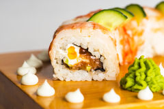 Japanese food roll maki macro.  Royalty Free Stock Photo