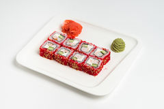 Japanese food roll maki on white background.  Stock Photography