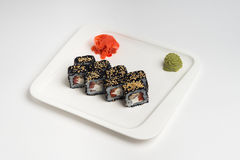 Japanese food roll maki on white background.  Stock Photos