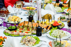 Japanese food and salads at the banquet table Stock Photos